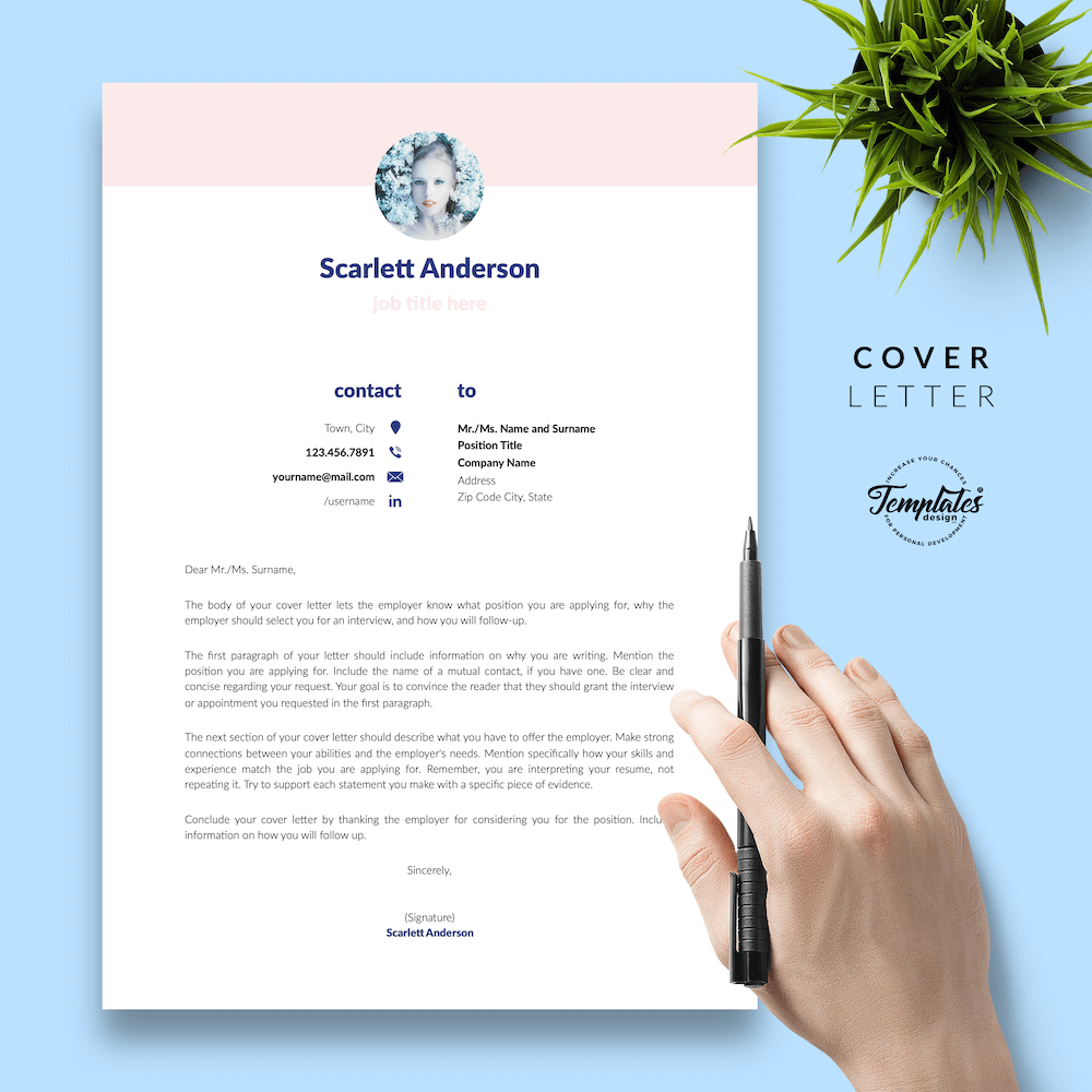 Creative Resume for Any Job - ScarlettAnderson 05 - Cover Letter - New version