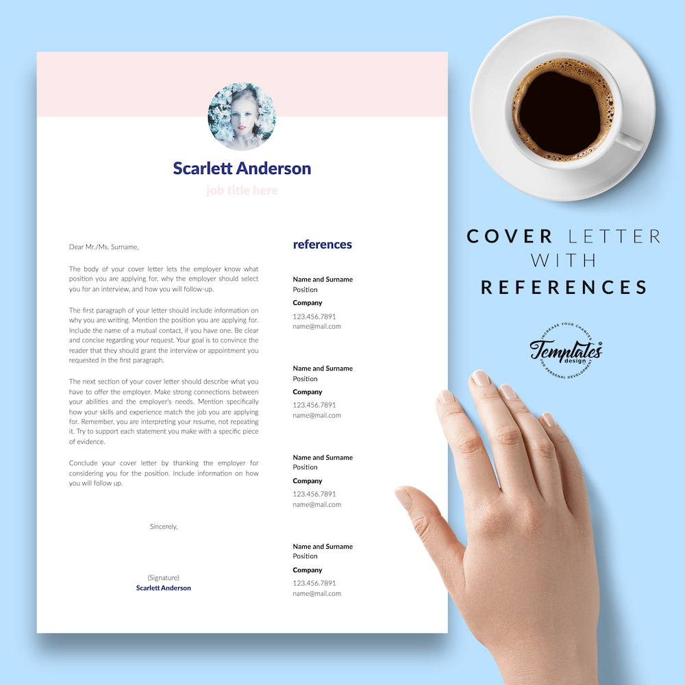 Creative Resume for Any Job - ScarlettAnderson 07 - Cover Letter with References - New version