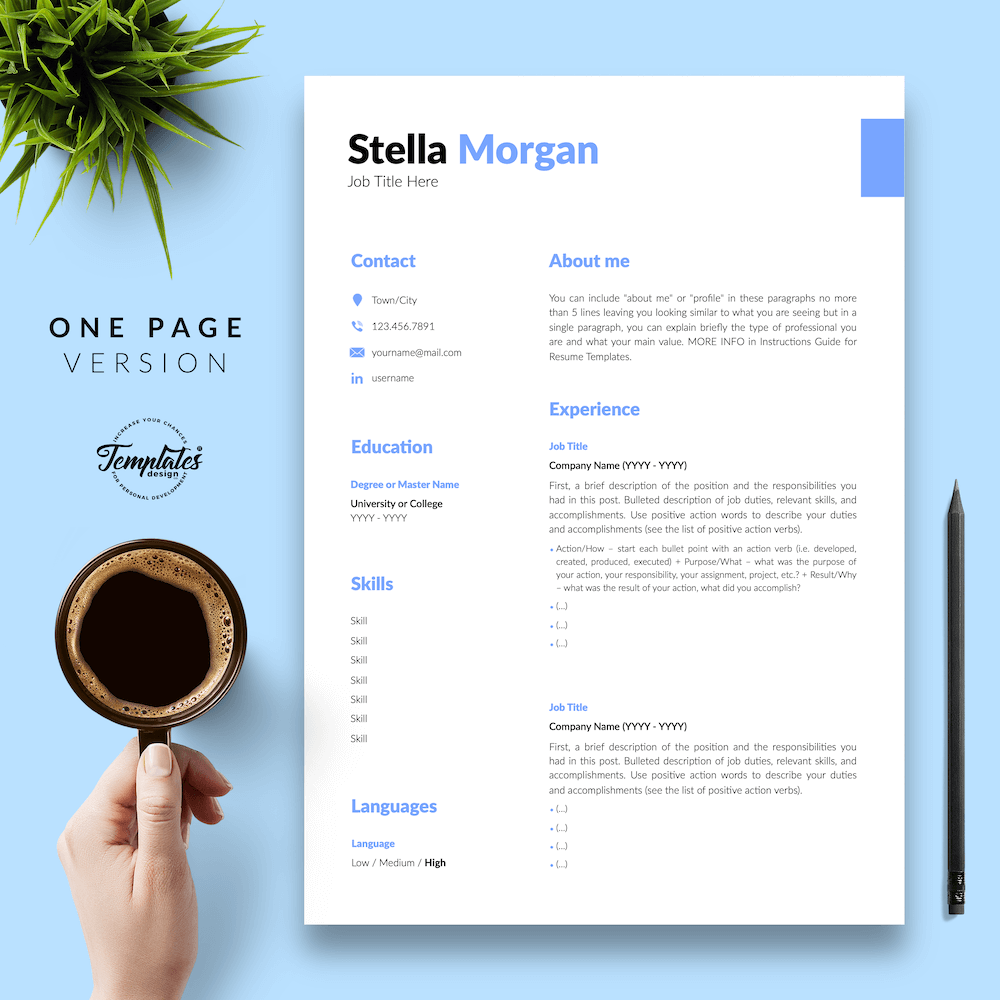 Basic Resume Format - Stella Morgan 02 - One Page Version - New version