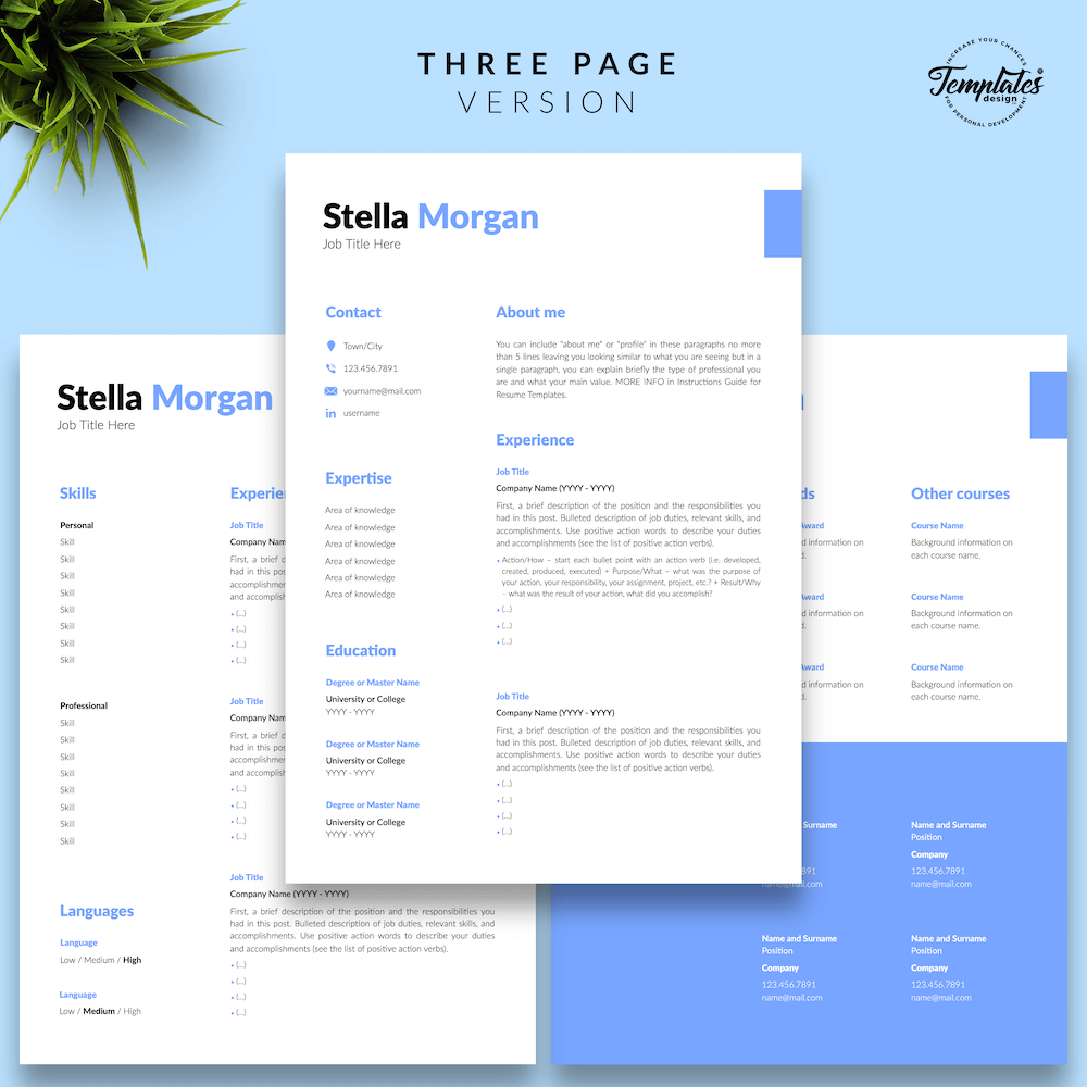 Basic Resume Format - Stella Morgan 04 - Three Page Version - New version