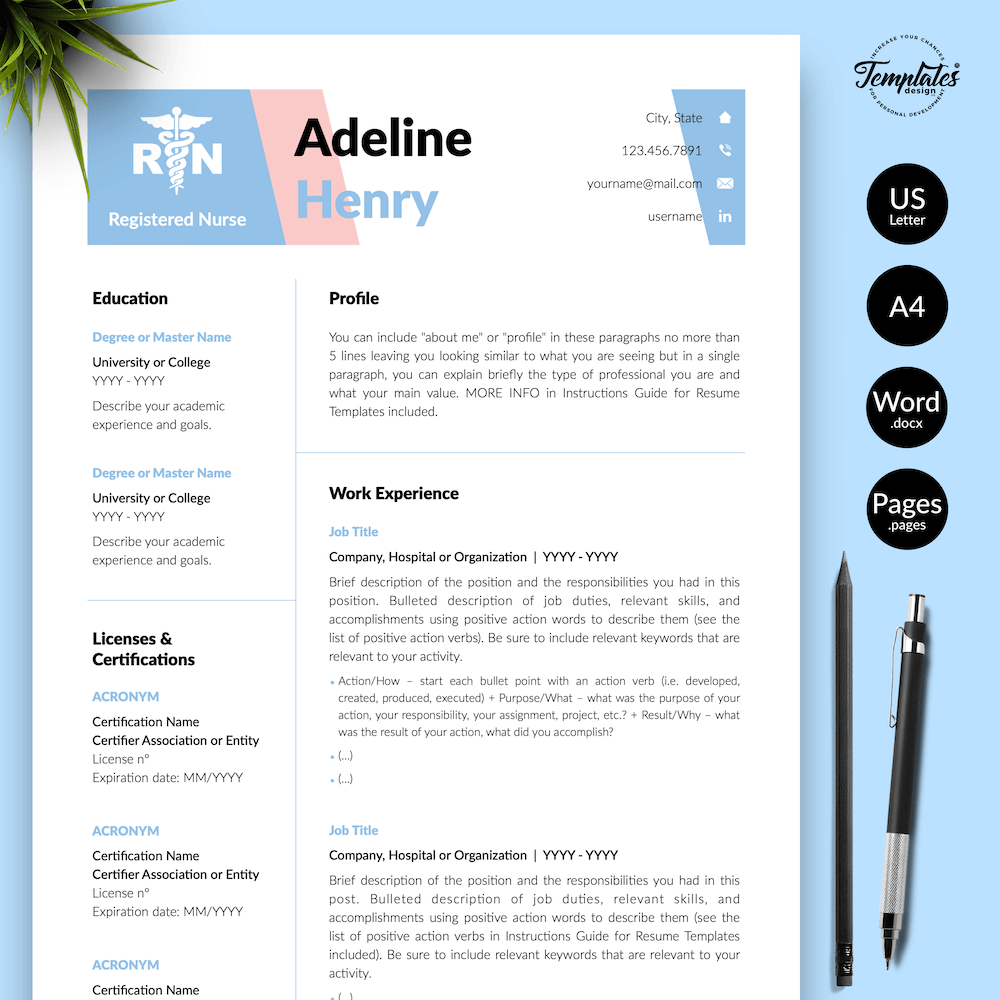 Nurse CV Template - Adeline Henry 01 - Presentation - New version