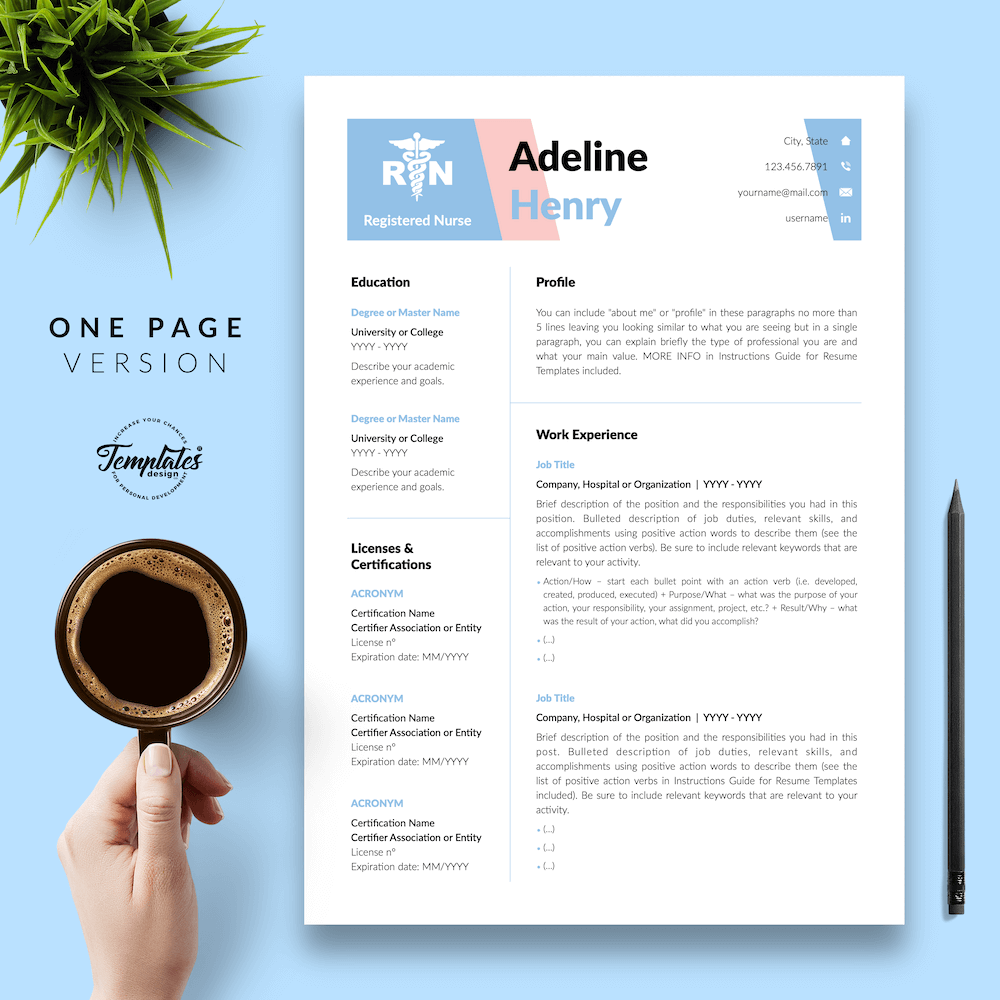 Nurse CV Template - Adeline Henry 02 - One Page Version - New version