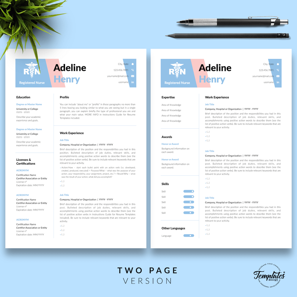 Resume CV Template - Adeline Henry 03 - Two Page Version - New version