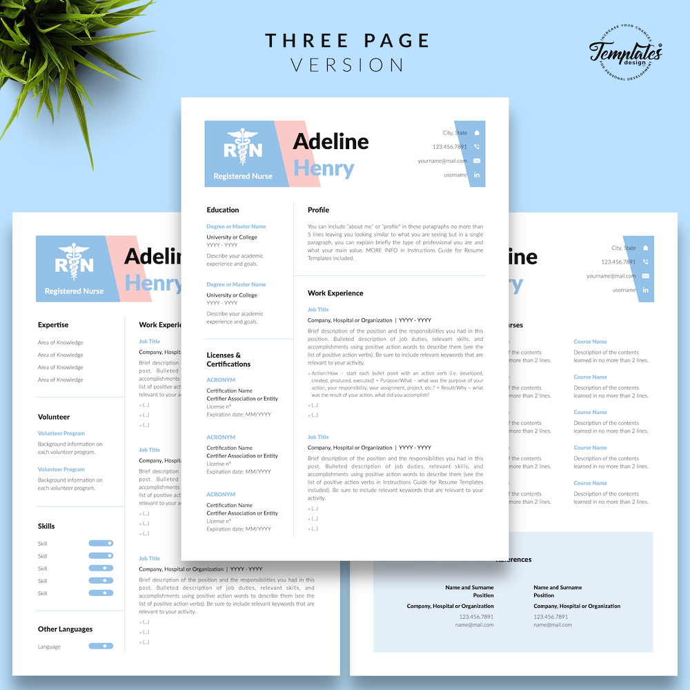 Nurse CV Template - Adeline Henry 04 - Three Page Version - New version