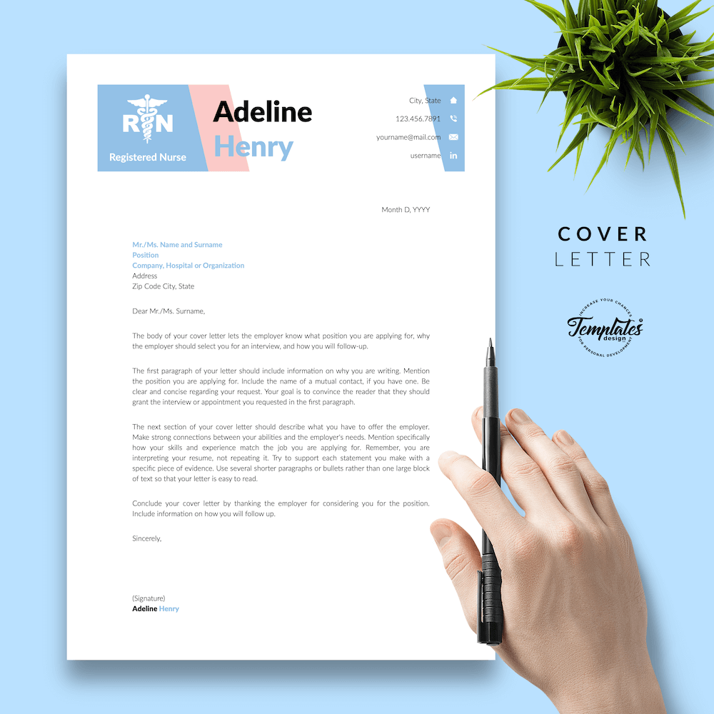 Nurse CV Template - Adeline Henry 05 - Cover Letter - New version