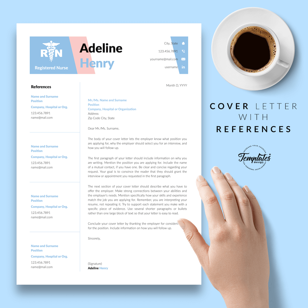 Nurse CV Template - Adeline Henry 07 - Cover Letter with References - New version
