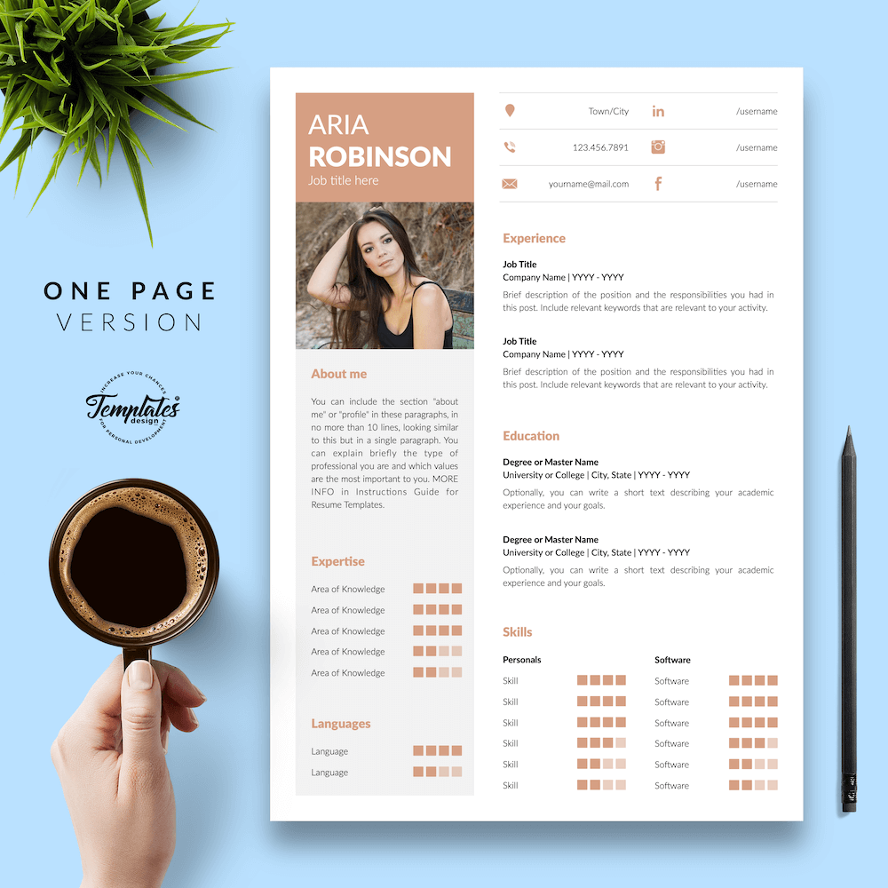 Creative CV Example - Aria Robinson 02 - One Page Version - New version