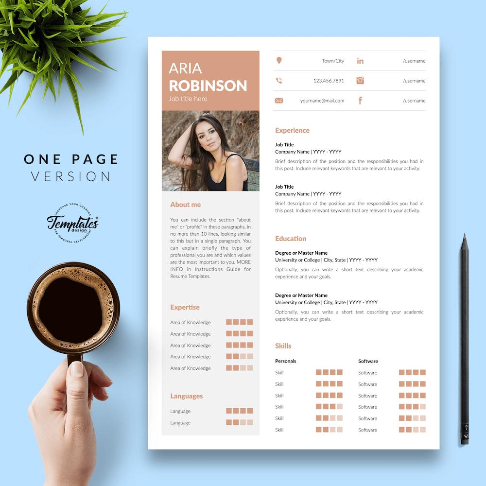 Creative CV Example - Aria Robinson 02 - One Page Version - New version
