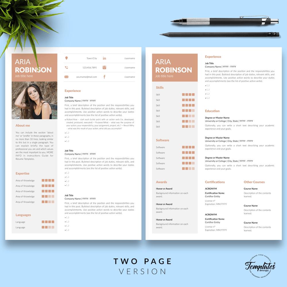 Creative CV Example - Aria Robinson 03 - Two Page Version - New version