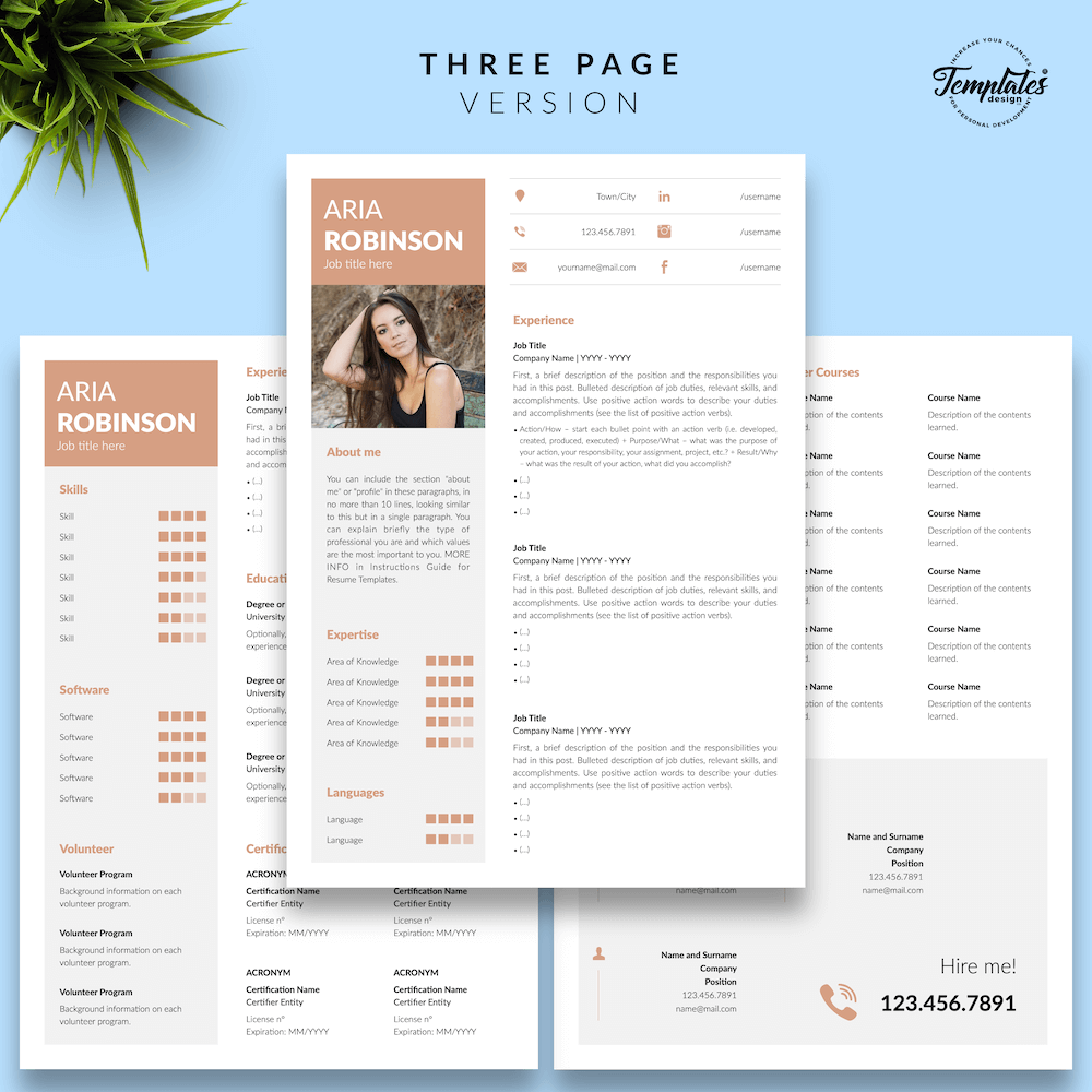 Creative CV Example - Aria Robinson 04 - Three Page Version - New version