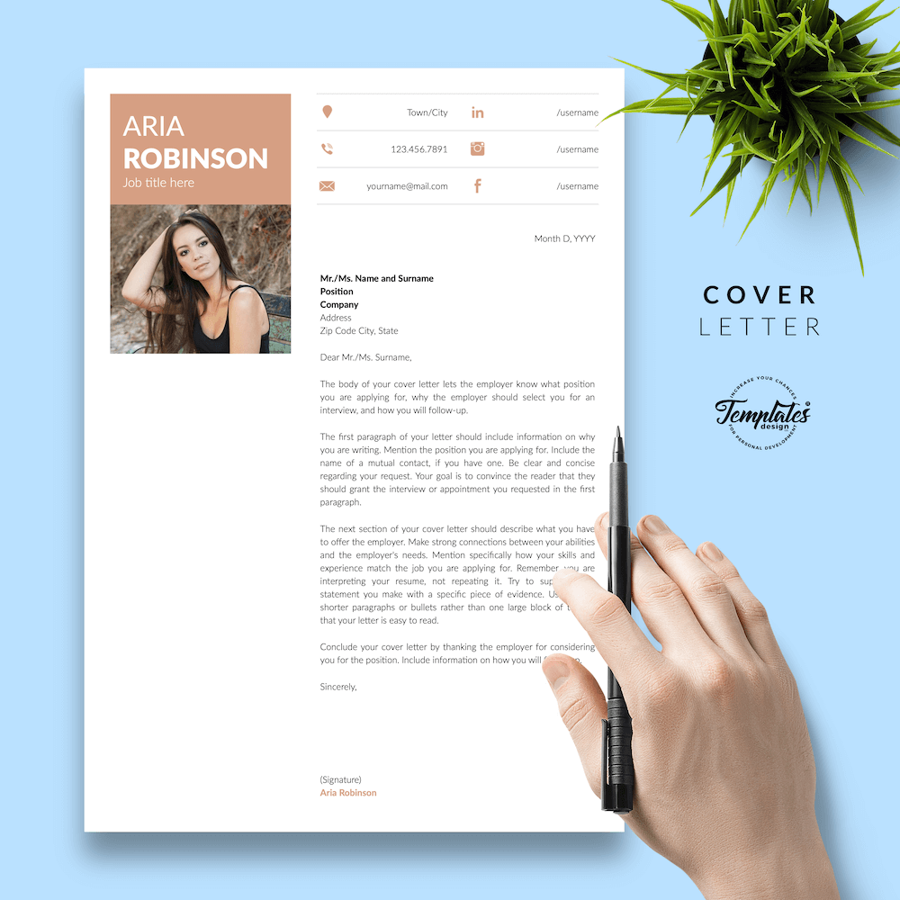 Creative CV Example - Aria Robinson 05 - Cover Letter - New version