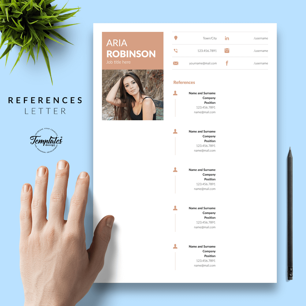 Creative CV Example - Aria Robinson 06 - References - New version