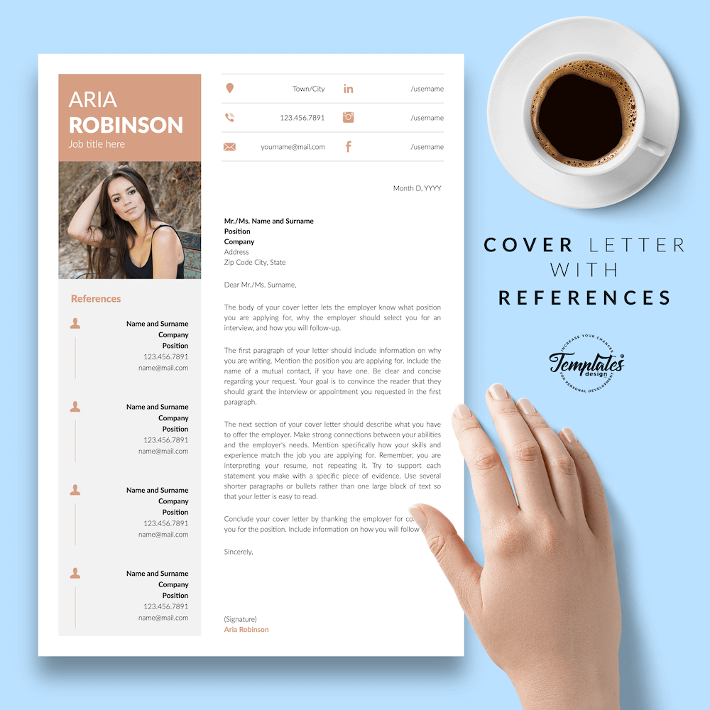 Creative CV Example - Aria Robinson 07 - Cover Letter with References - New version