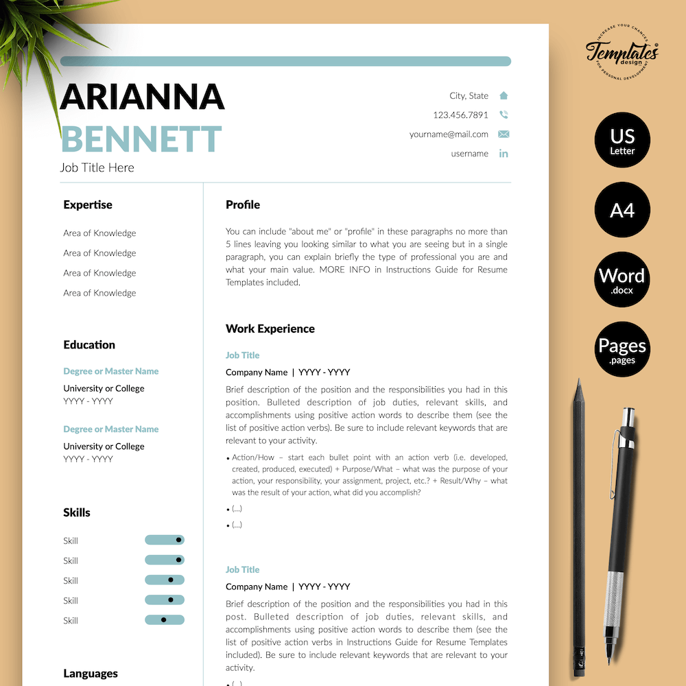 Simple Template for Resume - Arianna Bennett 01 - Presentation - New version
