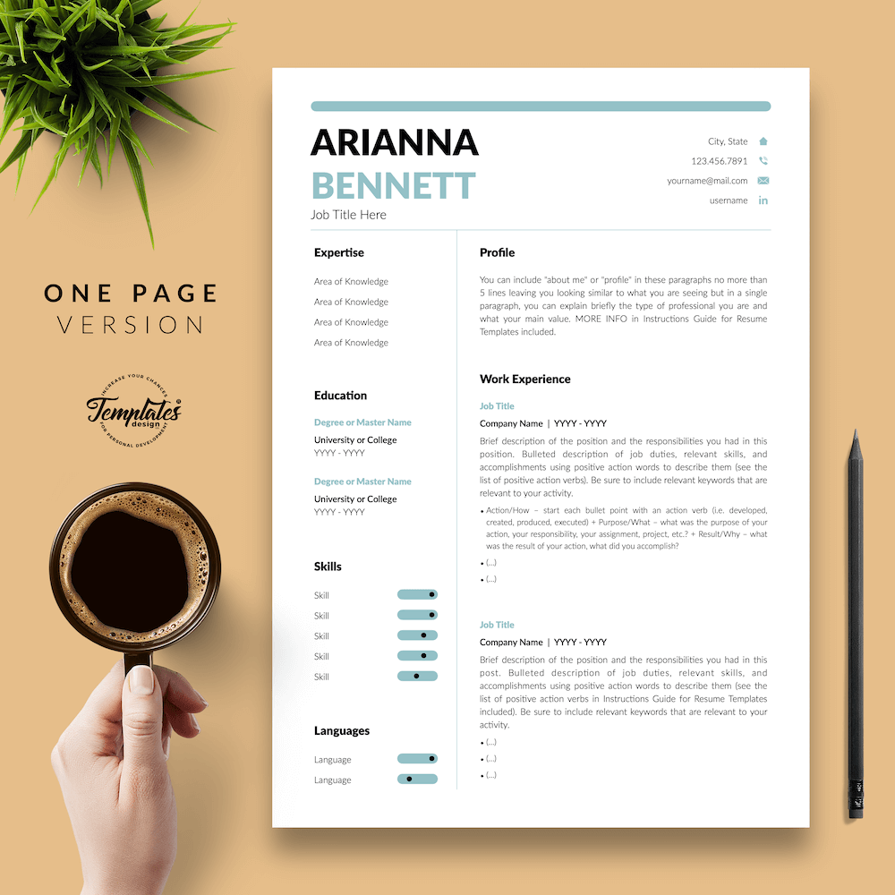 Simple Template for Resume - Arianna Bennett 02 - One Page Version - New version