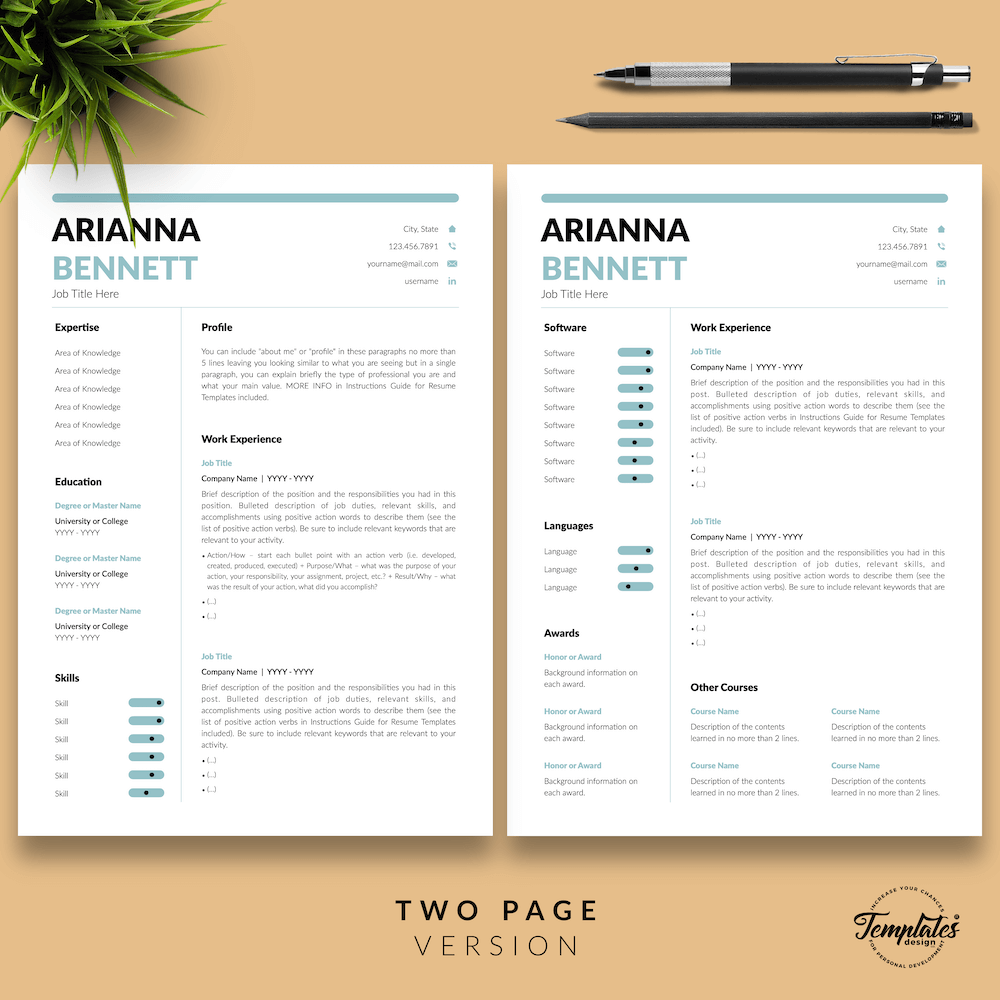Simple Template for Resume - Arianna Bennett 03 - Two Page Version - New version