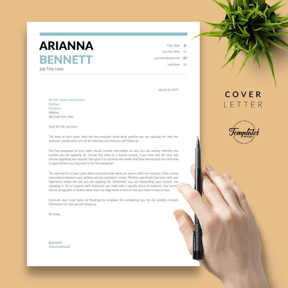 Simple Template for Resume - Arianna Bennett 05 - Cover Letter - New version