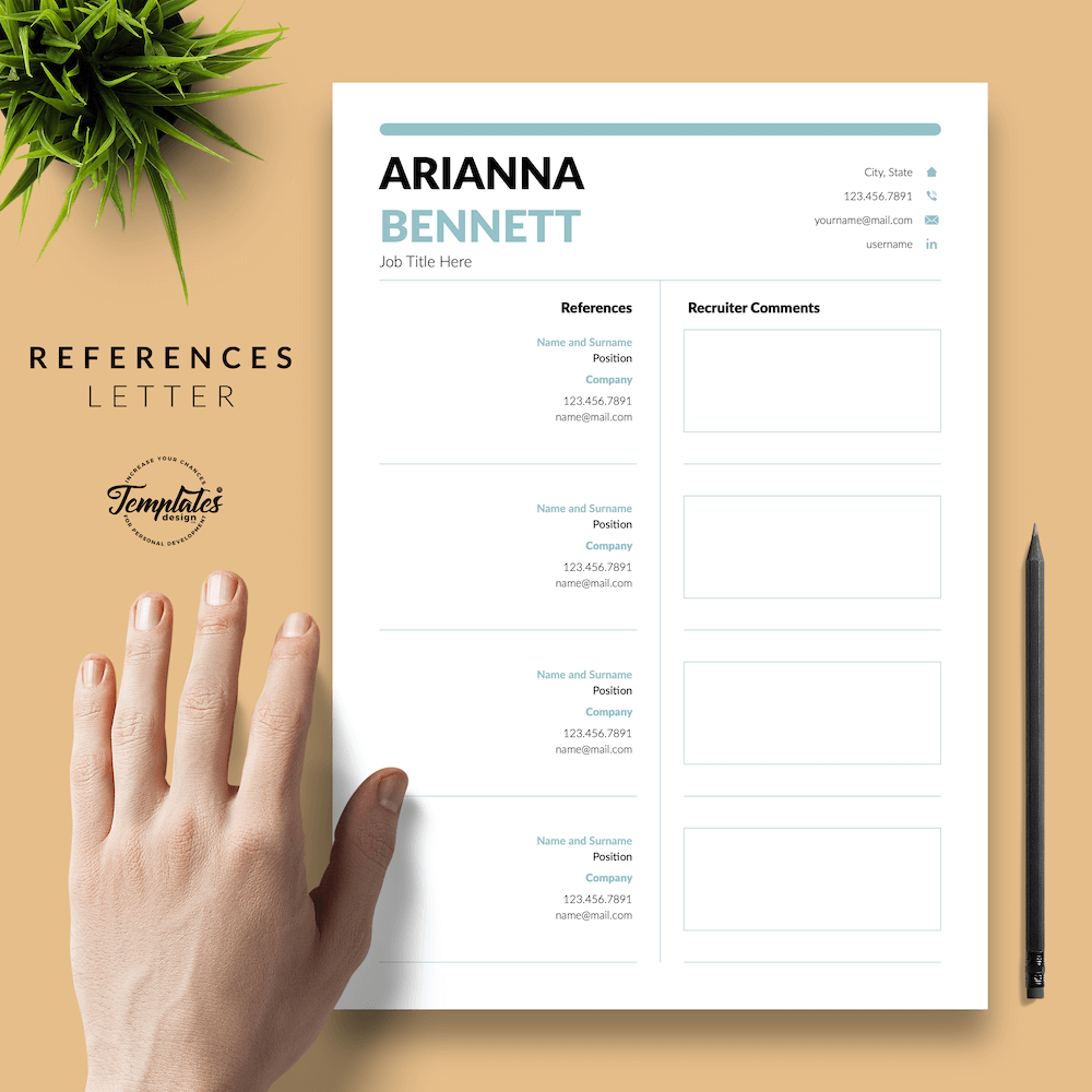 Simple Template for Resume - Arianna Bennett 06 - References - New version