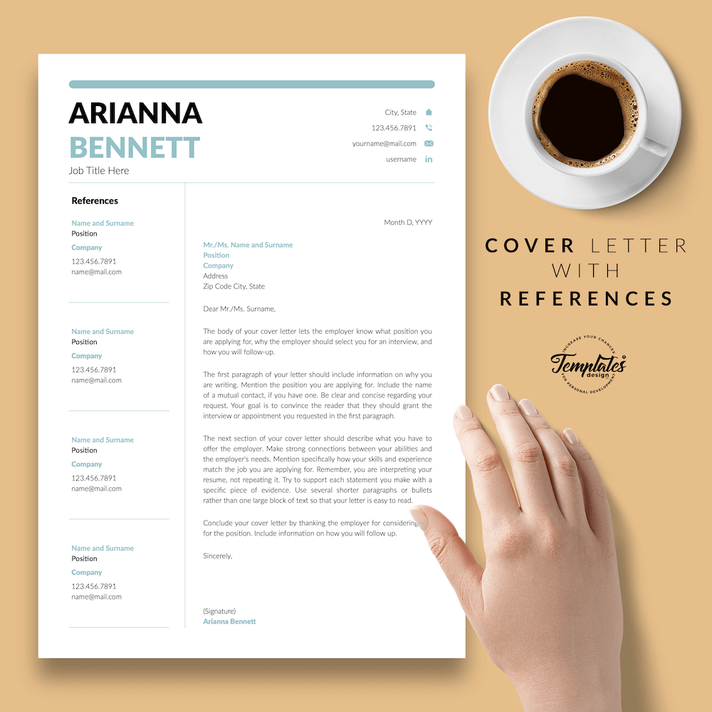 Simple Template for Resume - Arianna Bennett 07 - Cover Letter with References - New version