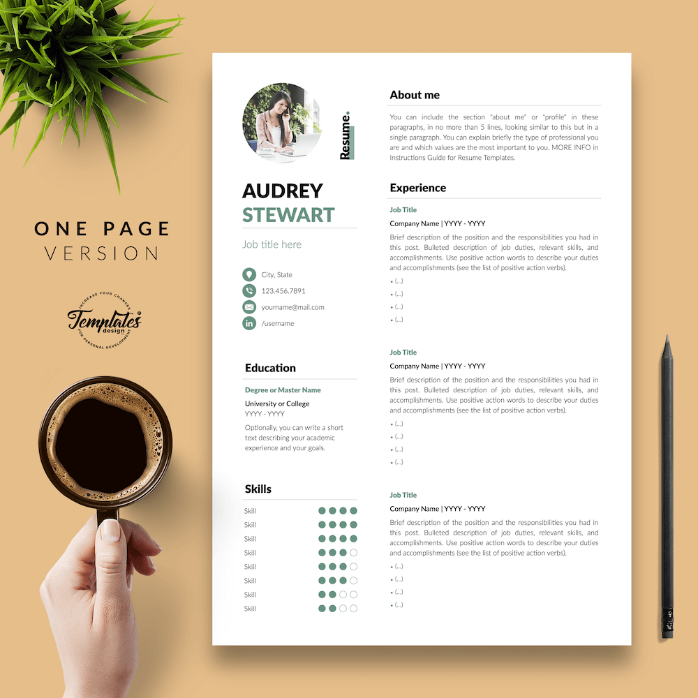 Best Resume for Any Job - Audrey Stewart 02 - One Page Version - New version