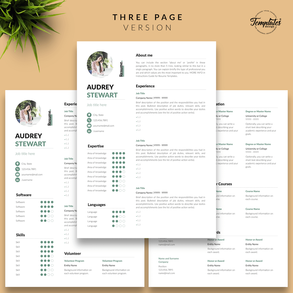 Best Resume for Any Job - Audrey Stewart 04 - Three Page Version - New version
