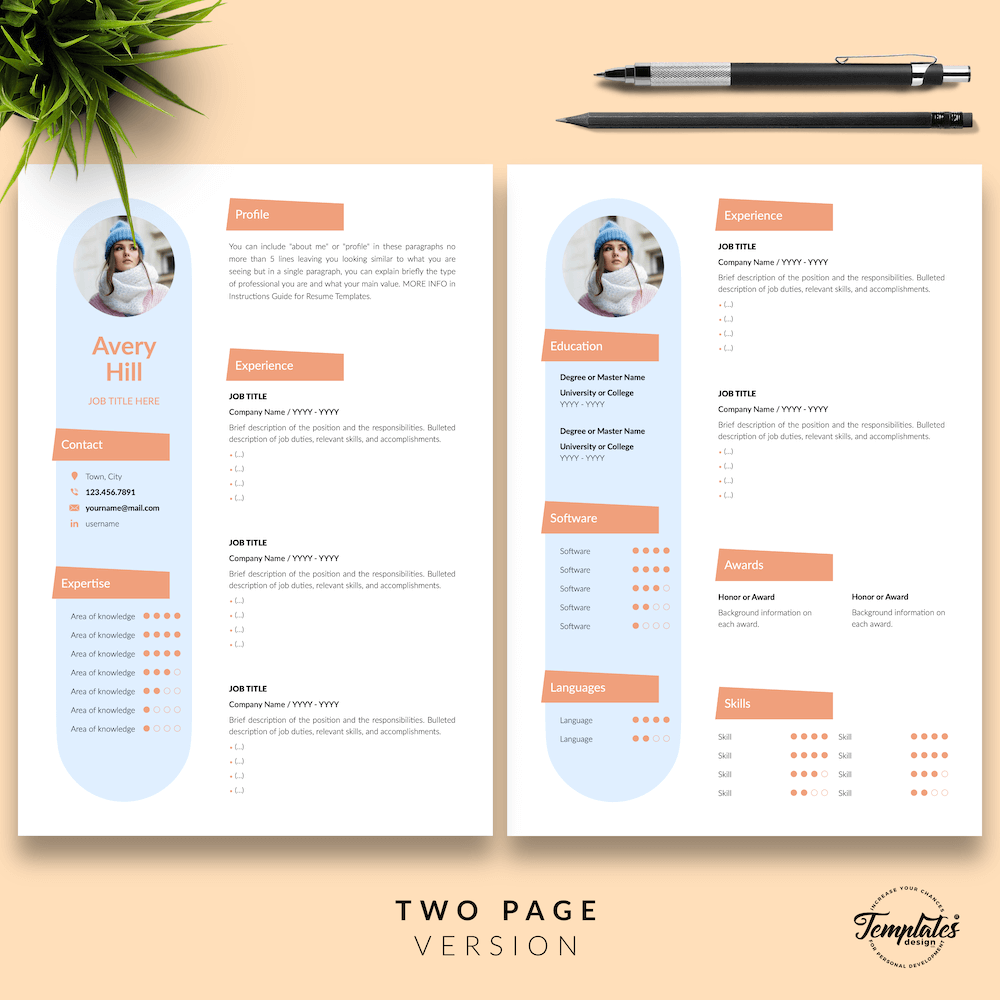 Resume Format for Wedding Jobs - Avery Hill 03 - Two Page Version - New version