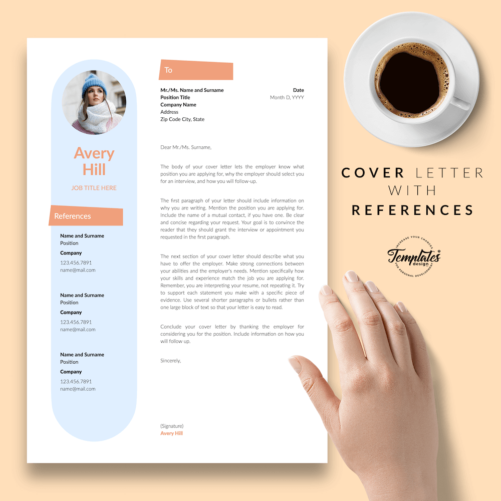 Resume Format for Wedding Jobs - Avery Hill 07 - Cover Letter with References - New version