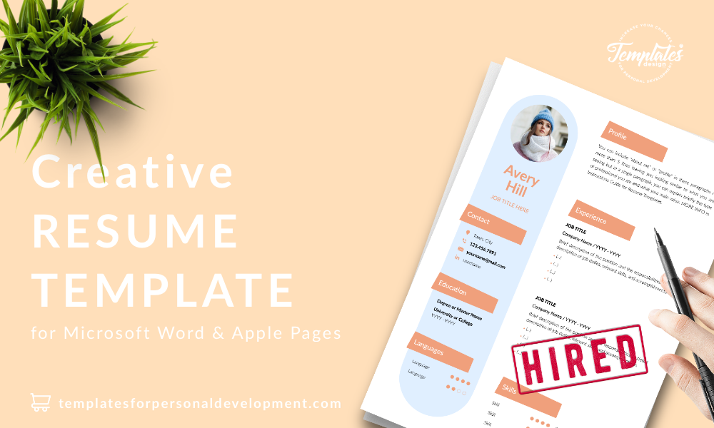 Resume CV Template : Avery Hill 22 - Post - New version