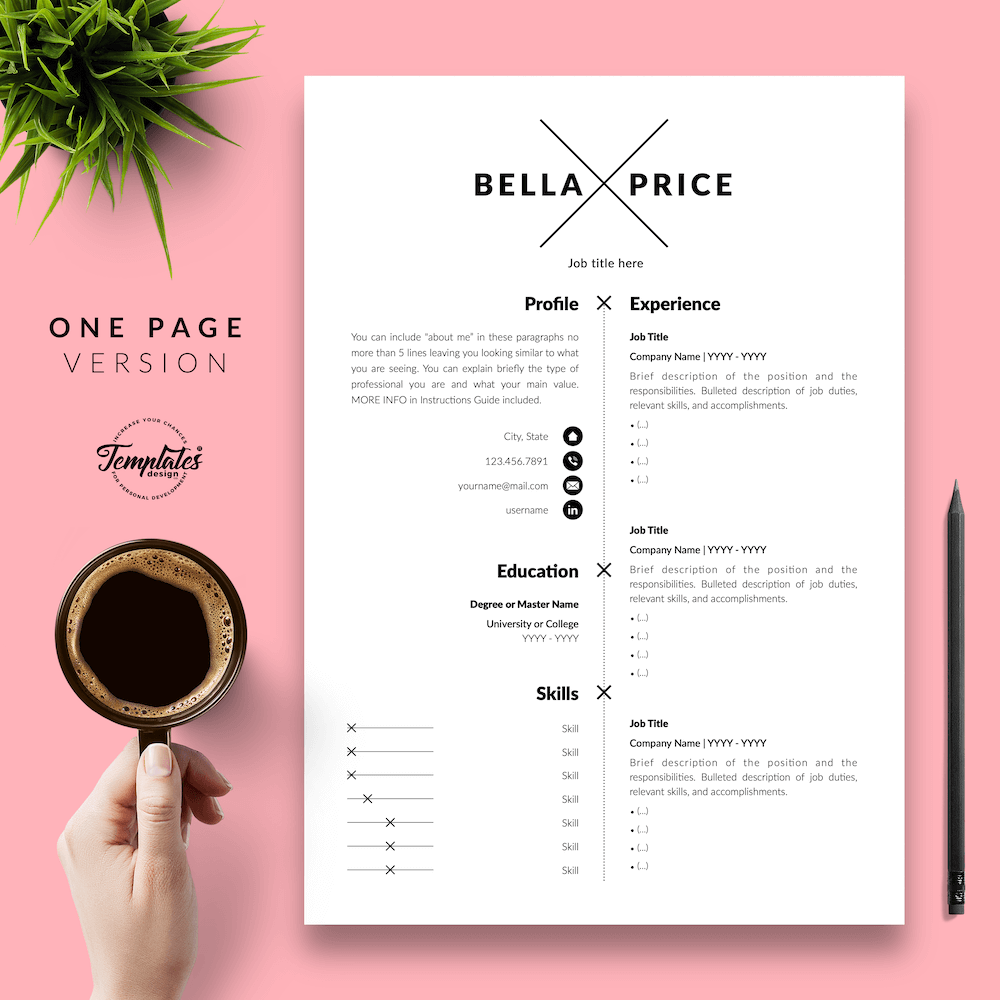 Simple Resume Format - Bella Price 02 - One Page Version - New version