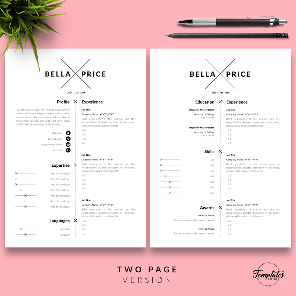 Simple Resume Format - Bella Price 03 - Two Page Version - New version
