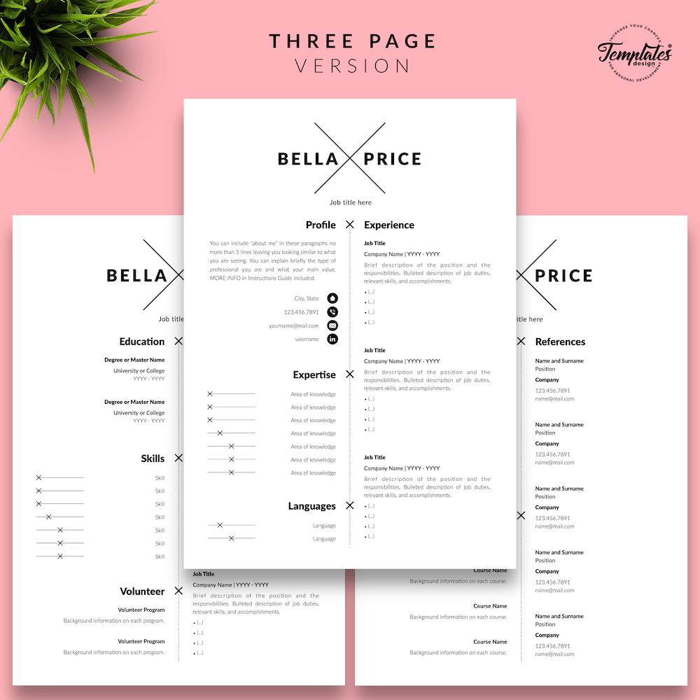 Simple Resume Format - Bella Price 04 - Three Page Version - New version