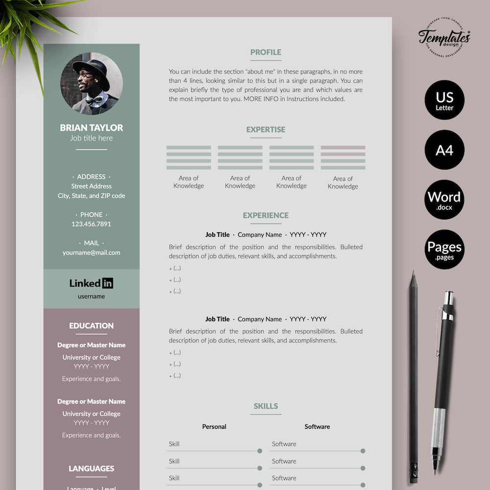 Elegant CV Resume - Brian Taylor 01 - Presentation - New version