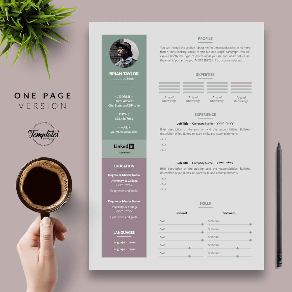 Elegant CV Resume - Brian Taylor 02 - One Page Version - New version