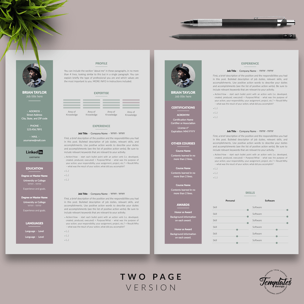 Elegant CV Resume - Brian Taylor 03 - Two Page Version - New version