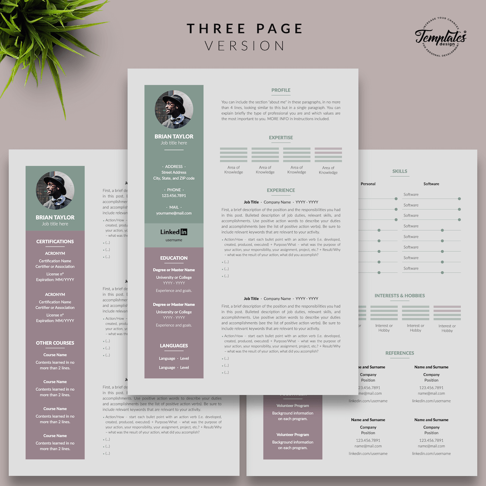 Elegant CV Resume - Brian Taylor 04 - Three Page Version - New version