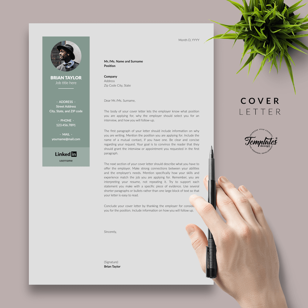 Elegant CV Resume - Brian Taylor 05 - Cover Letter - New version