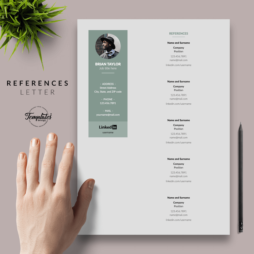 Elegant CV Resume - Brian Taylor 06 - References - New version