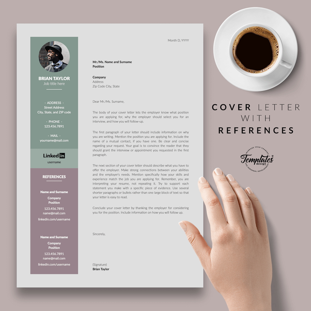 Elegant CV Resume - Brian Taylor 07 - Cover Letter with References - New version