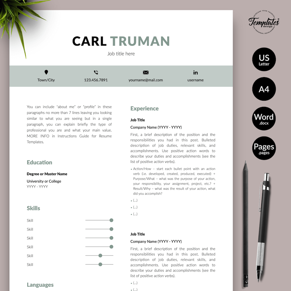 Professional Resume CV Template - Carl Truman 01 - Presentation - New version