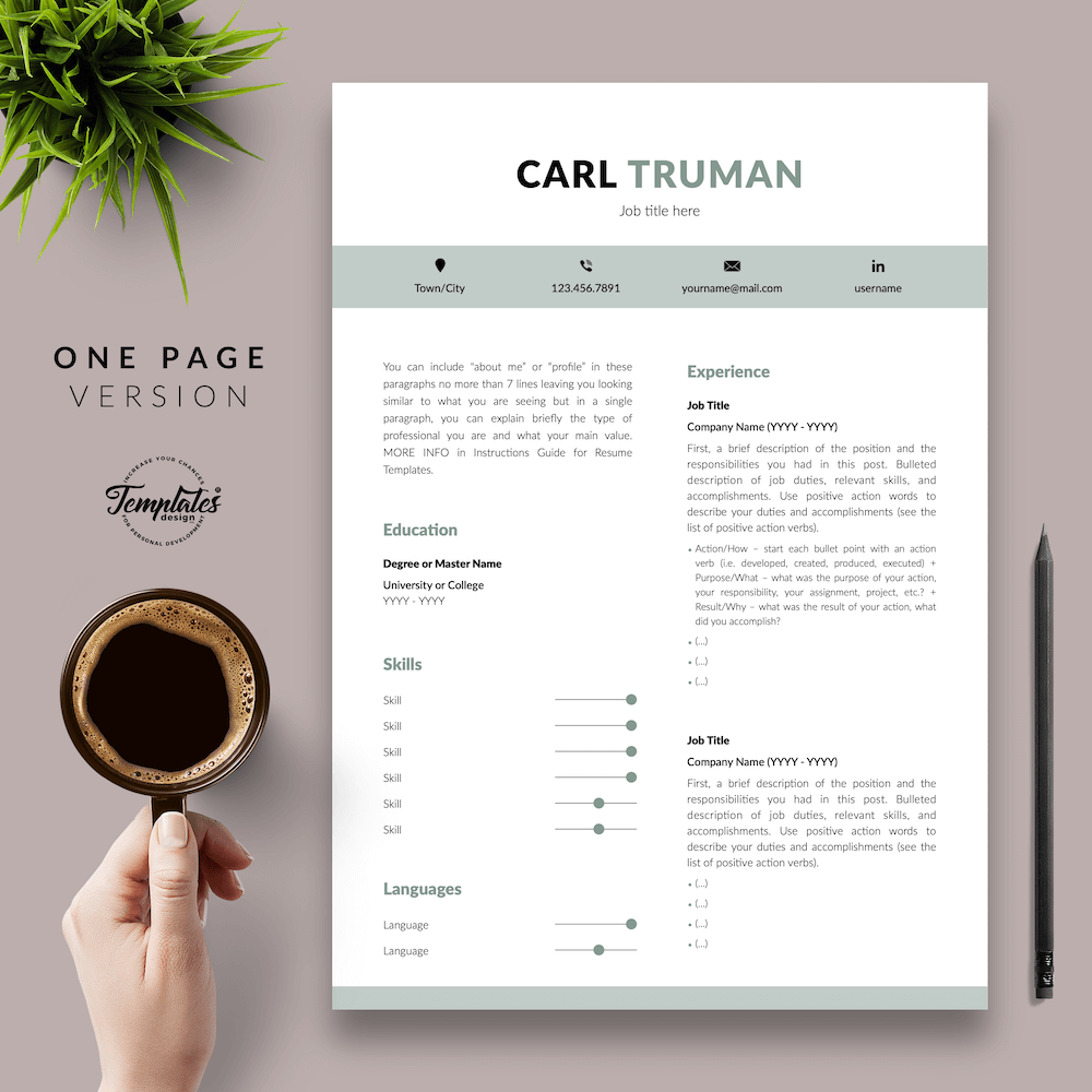 Professional Resume CV Template - Carl Truman 02 - One Page Version - New version
