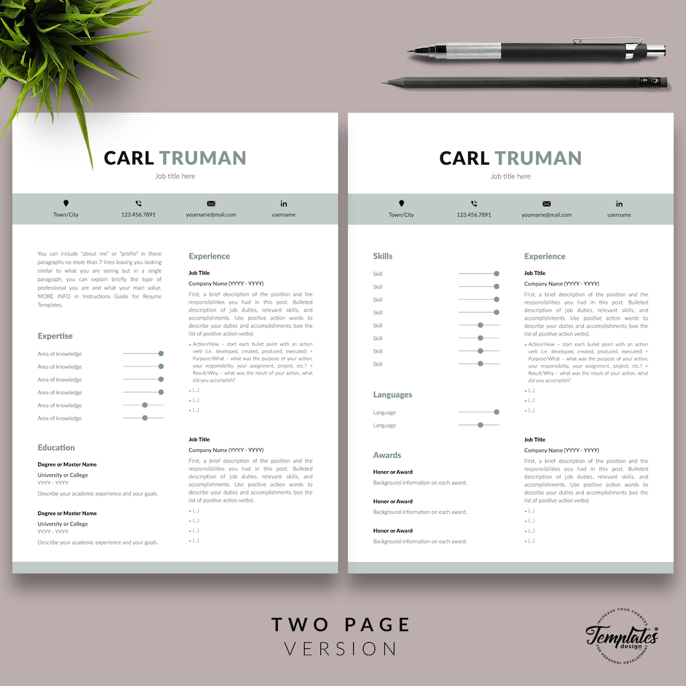 Professional Resume CV Template - Carl Truman 03 - Two Page Version - New version