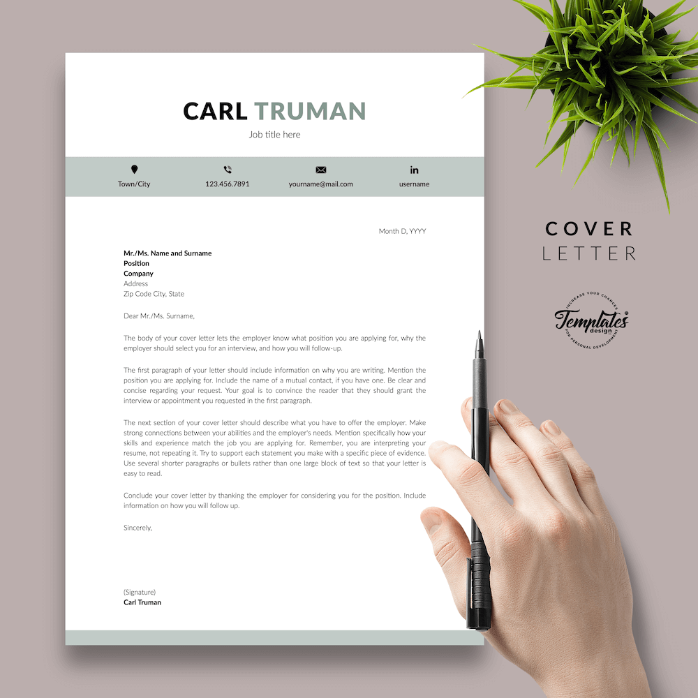 Professional Resume CV Template - Carl Truman 05 - Cover Letter - New version