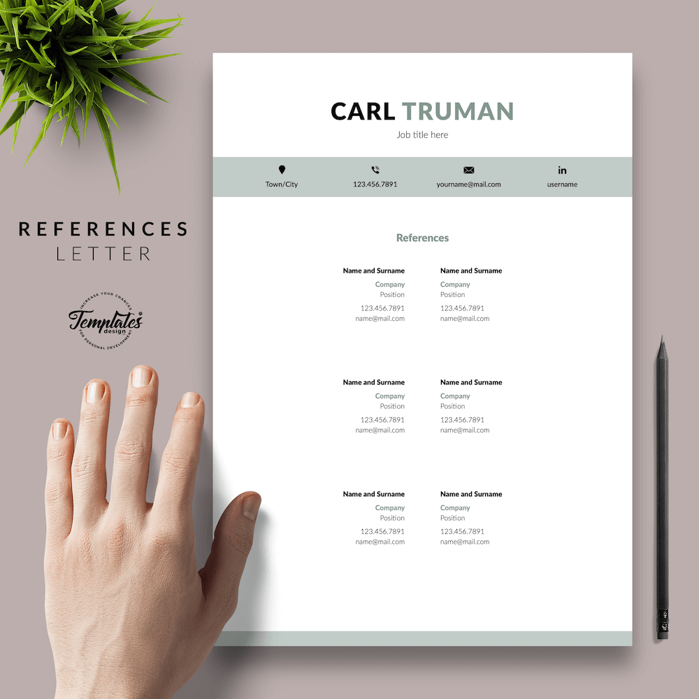 Professional Resume CV Template - Carl Truman 06 - References - New version