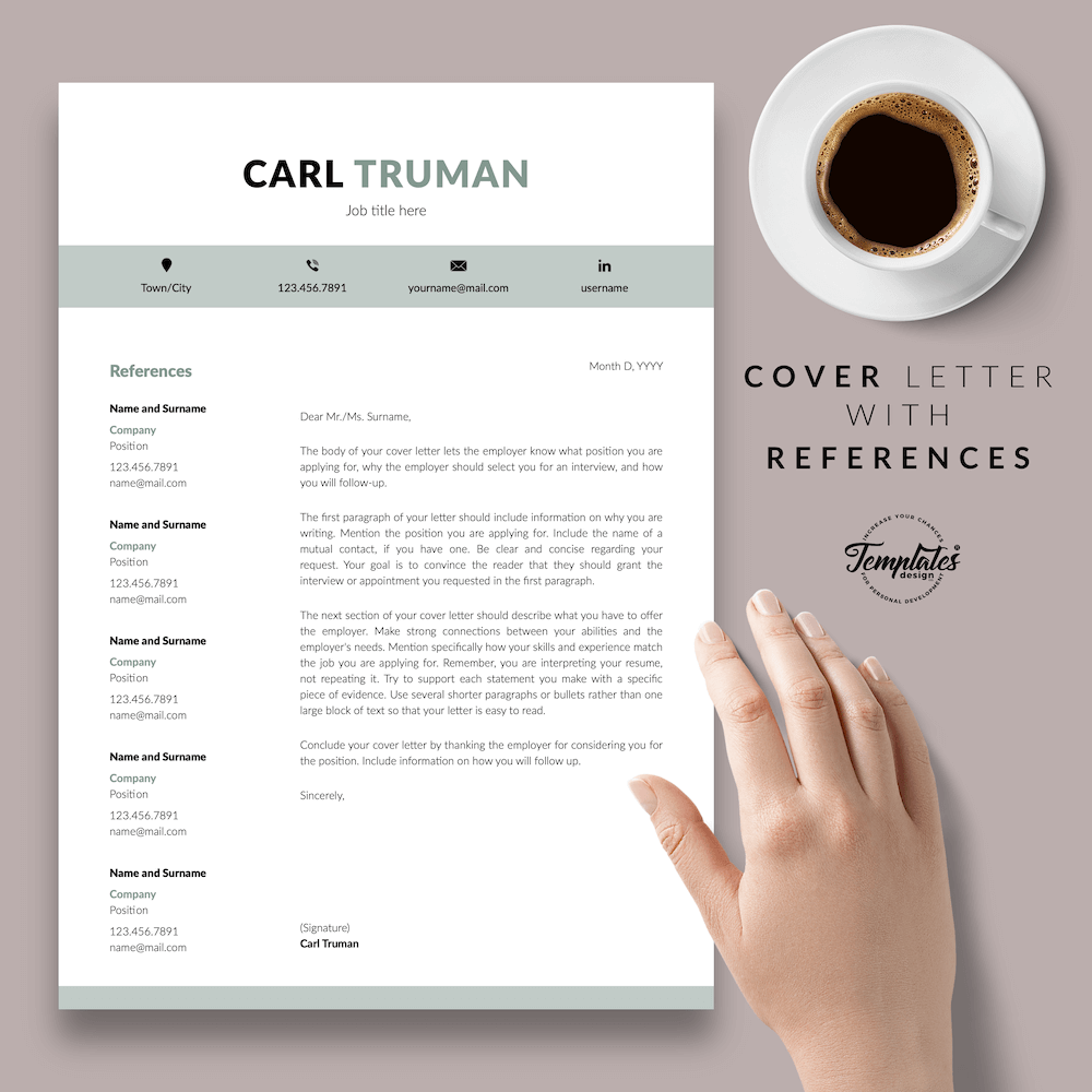 Professional Resume CV Template - Carl Truman 07 - Cover Letter with References - New version