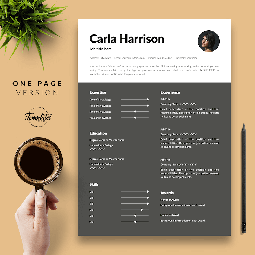 Resume Template for Accountant - Carla Harrison 02 - One Page Version - New version