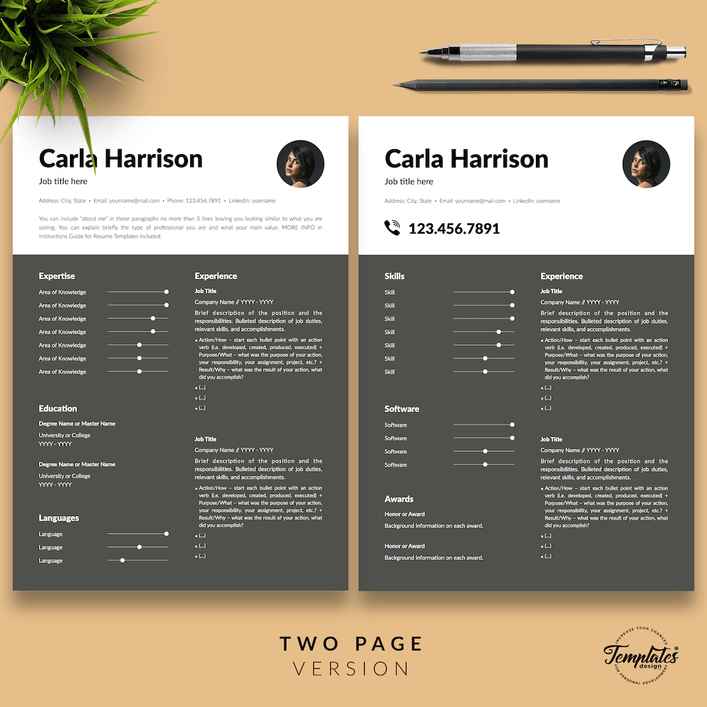 Resume Template for Accountant - Carla Harrison 03 - Two Page Version - New version