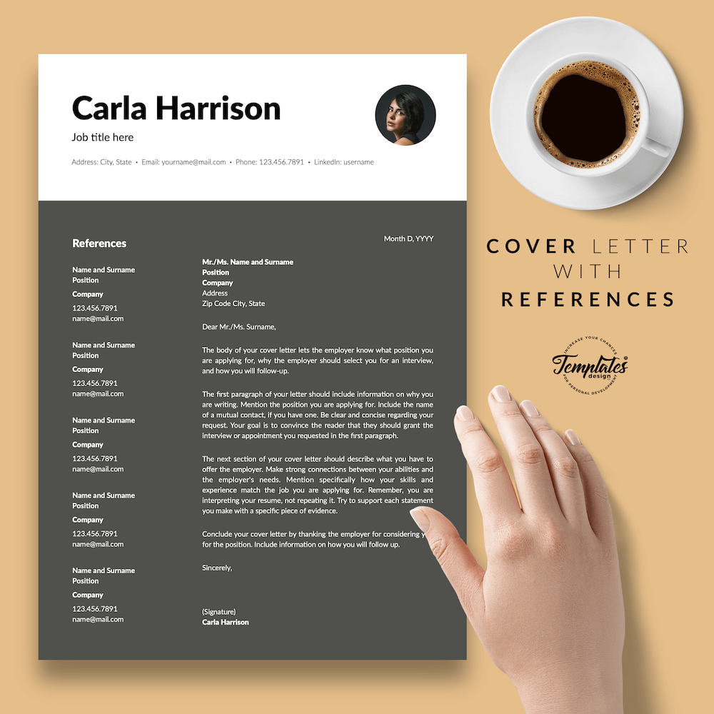Resume Template for Accountant - Carla Harrison 07 - Cover Letter with References - New version