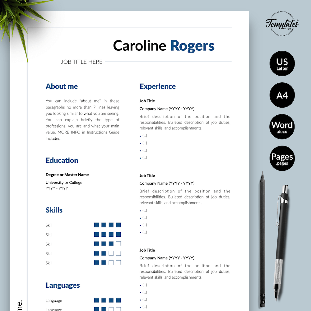 Resume Format for Engineer - Caroline Rogers 01 - Presentation - New version