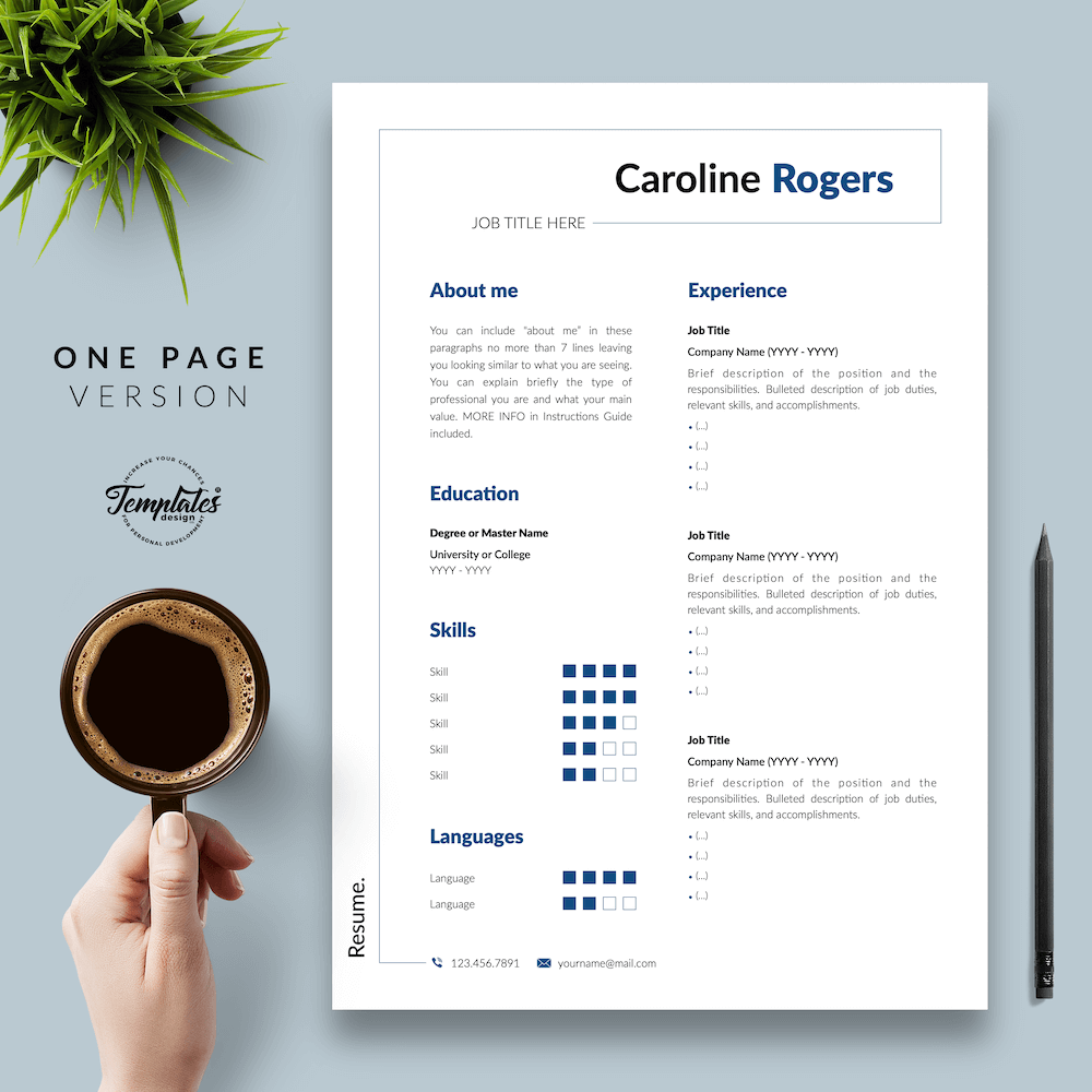 Resume Format for Engineer - Caroline Rogers 02 - One Page Version - New version