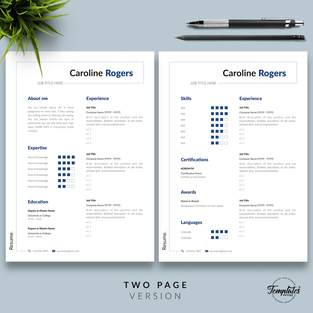 Resume Format for Engineer - Caroline Rogers 03 - Two Page Version - New version